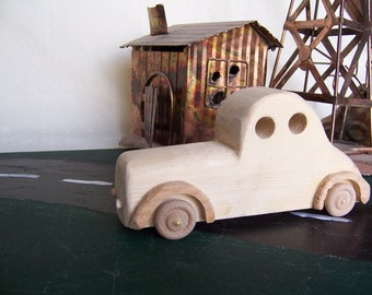 Toy Car Coupe 1940's Style Handcrafted from Reclaimed Wood