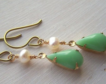 gold niobium earrings for sensitive ears vintage mint and freshwater pearls teardrops - limited edition