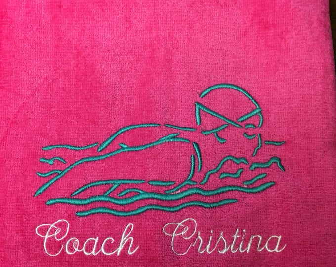 Swim team towel, swim team, Personalized, beach towel, pool towel, monogrammed towels, swimmer gift, water polo,