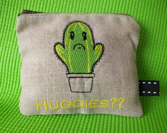 Embroidered Cactus Coin Purse