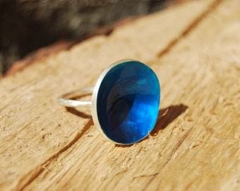 Sterling Silver Ring -  Blue - Contemporary jewelry - Made to order-Handmade