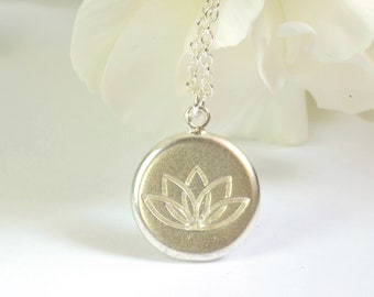 """Sterling silver lotus flower necklace, yoga pendant on 24"""" chain, lifestyle jewellery, padma meditation accessory, gift for yoga lovers"""