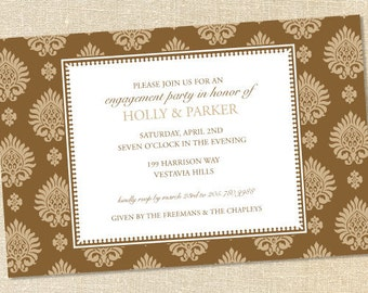 Sweet Wishes Chocolate Brown Engagement Rehearsal Dinner Invitations - PRINTED - Digital File Also Available