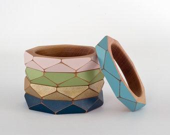 Geometric Wooden Bangle Small