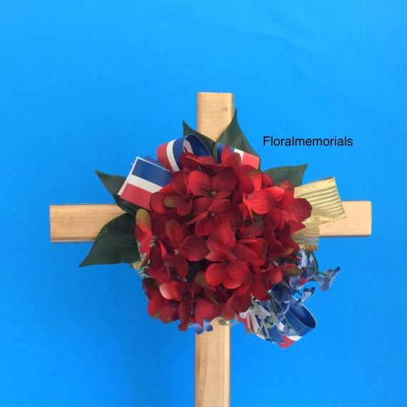 Patriotic Cemetery flowers , red white blue SALE Cemetery Cross, Grave flowers, Roadside Memorial, Grave Marker, Memorial Cross,