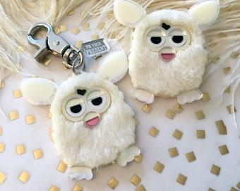 Furry Furby Acrylic Laser Cut Acrylic Keychain or Pin