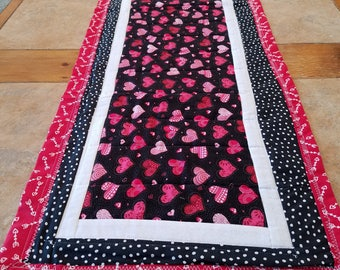 Black, Pink, Red and White Valentine's Day Quilted Table Runner