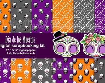 HALLOWEEN SCRAPBOOKING KIT- 12 digital papers and 2 embellishments. Instant download