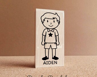 Personalized Children's Rubber Stamp - Boy - Choose Hair, Clothing and Name