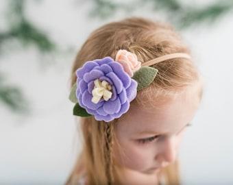 Felt flower headband - pastel purple - felt flowers - Lavender