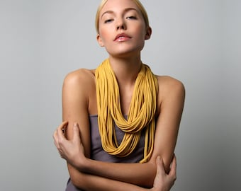Statement Necklace, Infinity Scarf, Mustard Yellow Scarf, Girlfriend, Festival, Gift for Women, Mom Gift, Wife Gift, Sister Gift, Womens