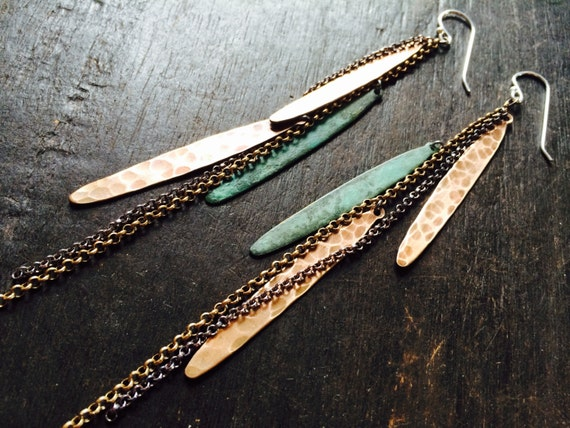 Verdigris Metal Feather Earrings