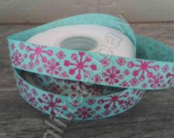 "7/8"" Pink Snowflakes on Tropic Grosgrain Ribbon"