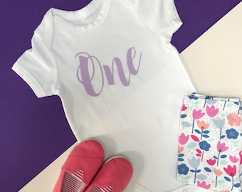 Pink Glitter Baby Girl 1st Birthday Outfit | One Year Old Girl Birthday Outfit | Cake Smash Outfit Girl | SS Vest Script One