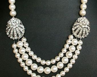 Art Deco Wedding Necklace, Seashell Bridal Necklace, Statement Bridal Jewelry, Great Gatsby Jewelry, Wedding Jewelry, Vintage Jewelry, MAUDE