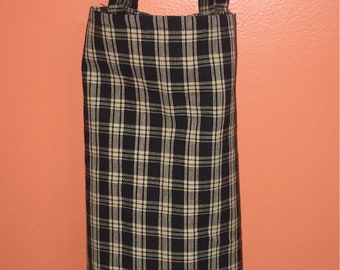 Primitive Black and Tan Check Grocery Bag Holder- Plastic Bag Holder-