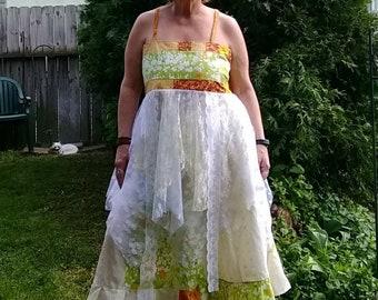 Handmade Hippie Patchwork Garden Woodstock Festival Apron Top and Skirt set 2 piece dress 39-42 B bohemian peasant summer