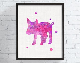 Watercolor Baby Pig Print, Piglet Art, Pig Wall Art, Pig Painting, Nursery Decor, Nursery Wall Art, Farm Animals, Kids Room, Childrens Art