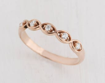 Art deco band ring, Gold wedding ring, Rose gold band, Gold wedding band, Rose gold band ring, Unique wedding band, Women wedding band