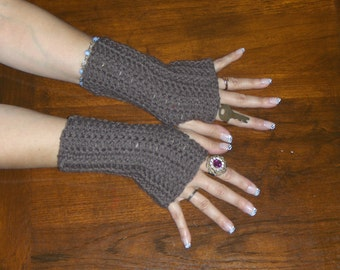 The Chocolate Moose Fingerless Autumn Gloves. Crochet Gloves. Taupe Handmade Arm Warmers Fingerless Mittens. Bohemian