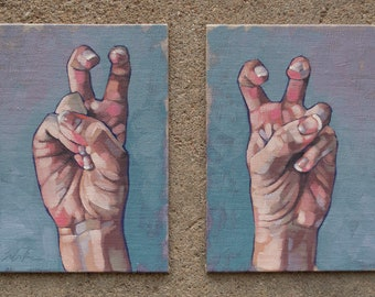 "Contemporary Fine Art Oil Painting Diptych, Air Quotes, Hand Gestures, Original Painting, Mix and Match Paintings - ""Air Quotes"""