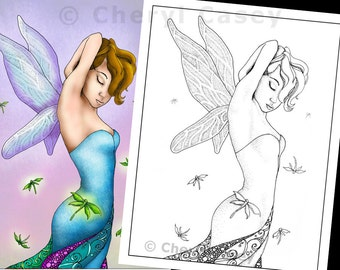 Printable Coloring Page - Fairy with Dragonflies - Cheryl Casey Art - Digistamp, Digital Stamp