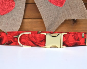 Red Roses Dog Collar, Valentine Dog Collar, Red Flowers, Girl Dog Collar, Girly, Romantic Dog Collar, Metal Buckle