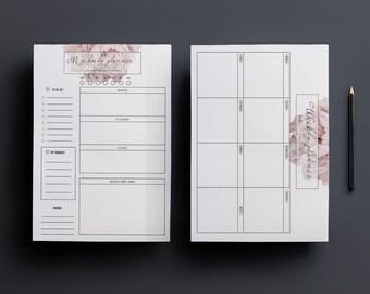 Peony planners/Weekly planner /daily planner/ floral planner/ planner template / weekly printable /planner printable/to do list/printable