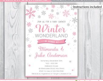 winter wonderland invitation / winter baby shower invitation / winter wonderland baby shower / winter wonderland baby shower invitation /