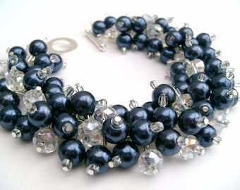 Bridesmaid Jewelry, Navy Blue Pearl Beaded Bracelet, Cluster Bracelet, Wedding Jewelry, Pearl Bracelet, Bridesmaid Gift - Jewelry Kim Smith