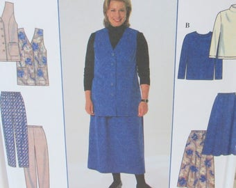 Vintage 1997  Simplicity #7863 Easy to Sew Skirt Pattern Pants Top Vest Full Figure Plus Size 18 - 24 Uncut