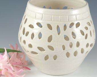 Pottery Ceramic Candle Votive, Patio Candle, Wedding Luminary Pretty Little Liars White Lantern Candle Holder, Wedding Bridal Shower Gift