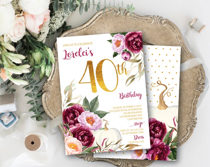 Fall 40th Birthday Invitation // Pumpkin Birthday // Burgundy Flowers / Forty / Floral / Blush / Gold / Watercolor // CARMEL COLLECTION
