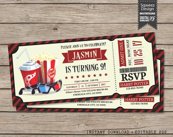 Movie Birthday Ticket Invitation, Movie Night Invitation, Popcorn Movie Party Invitation, Movie Party - Instant Download Editable PDF