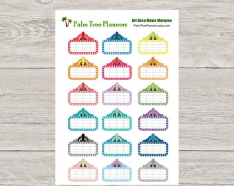 Movie Marquee Stickers for Erin Condren Vertical Planner