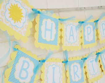 You are my sunshine Happy Birthday banner Little Miss Sunshine-Sunshine -turquoise and creamy yellow