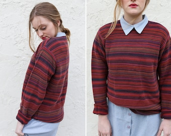 Vintage Striped Izod Pullover Sweater // Long Sleeve Striped Pullover Maroon Purple Orange