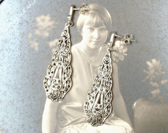 Vintage Marcasite Dangle Earring,STERLING Art Nouveau/Deco, Rhinestone Antique Silver Flapper Bridal Earrings 1920's Wedding Jewelry Pierced