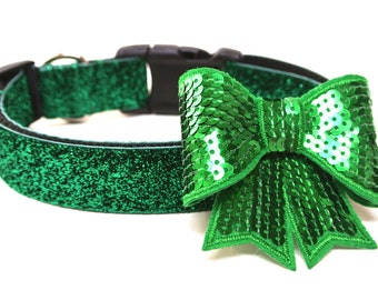 Dog Collar Bow Add-On Green Dog Bow