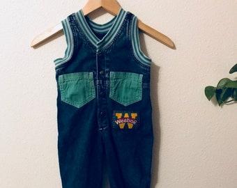 90s Weebok Sleeveless Denim Jumpsuit Size 2T