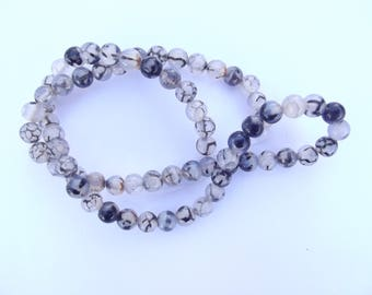66 agate smooth round beads 6 mm Marshall-588 black gray dragon vein