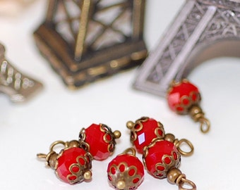 FREE SHIP Petite Red Crystal  Charms