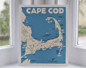 Cape Cod Map 8x10 print  © Alan Claude