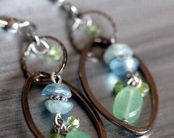 Dainty Kyanite Peridot Blue Bonnet Hoop Earrings
