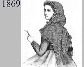 Lady's Knitted Hood  -Victorian Reproduction PDF Pattern - 1860's - made from original 1869 Harper's Bazar  pattern