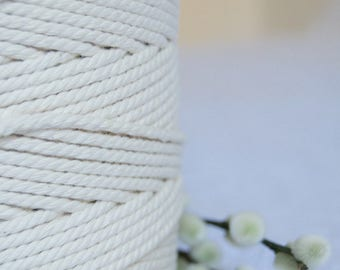 3mm x 240m Twisted Cotton Cord / Macrame  Cord / Cotton Rope - Natural Ecru or Bleached White