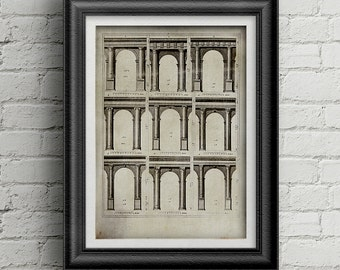 Architecture print 002 - architecture poster digital download - old arch - architecture illustration - old architecture - old print