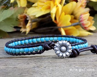 ready to ship - Leather Anklet, Turquoise and brown, flower anklet, boho