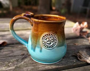 Yoga Coffee Mug, Om, Ceramic Mug, Yoga Gift for Teacher, 14oz, In-Stock