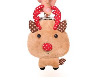 Santa's little helper reindeer coin purse